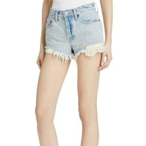 Free People Lace Inset Cut Off Shorts